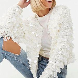 Sweaters - White Sequin Cardigan